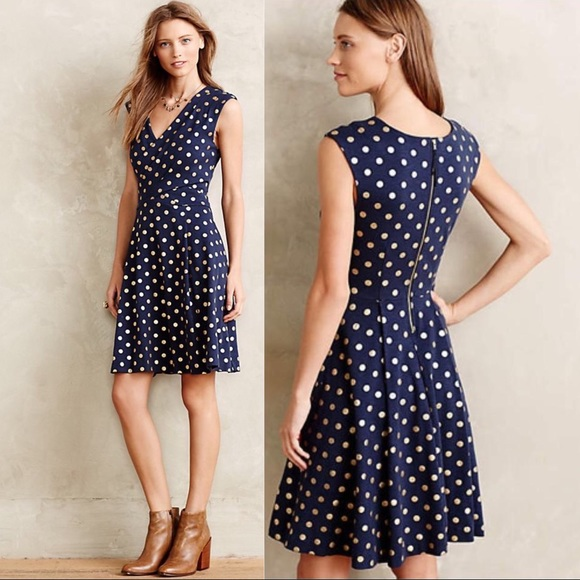 Anthropologie Dresses & Skirts - Anthro Maeve Ophira Dot Dress Gold Polka Dot Navy